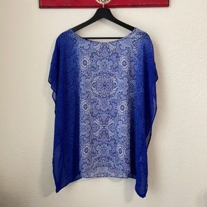 Roz & Ali Handkerchief Embellished Blouse sz L